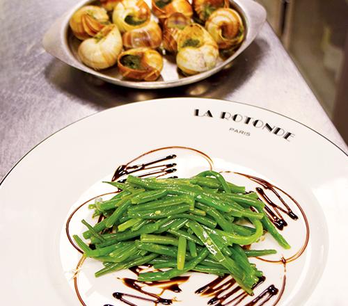 Escargots de Bourgogne au beurre d'ail et ses haricots verts frais extra fins